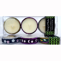 Perfumed Soy Candles BEADED Set of 3 GREEN