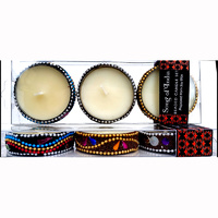 Perfumed Soy Candles BEADED Set of 3 ORANGE