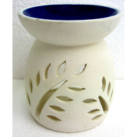 Ceramic OIL BURNER WHITE w BLUE BOWL