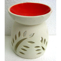 Ceramic OIL BURNER WHITE w RED BOWL