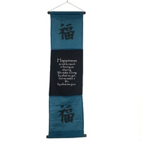 Hanging Wall Banner HAPPINESS Blue