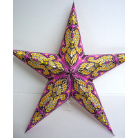 Star Hanging Lantern PINK YELLOW BROWN