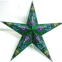 Star Hanging Lantern GREEN WHITE BLUE