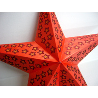Star Hanging Lantern ORANGE GLITTER STARS