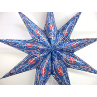 Star Hanging Lantern BLUE EMBROIDERED 9PT