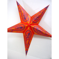 Star Hanging Lantern ORANGE BLUE PAISLEY