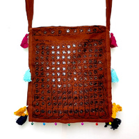 Boho Bag Embroidered Square Mirrors Tassels