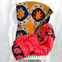 Cotton Quilted Throw Red Black Handmade
