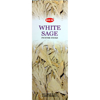 HEM Incense Square WHITE SAGE 8 stick BOX of 25 Packets