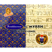 Kamini Incense Cones FRANKINCENSE MYRRH Box of 12 Packets