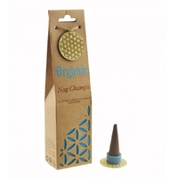 ORGANIC Goodness Incense Cones Nag Champa with Ceramic Holder BOX of 12 Packets