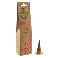 ORGANIC Goodness Incense Cones Rose with Ceramic Holder BOX of 12 Packets