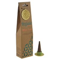 ORGANIC Goodness Incense Cones White Sage with Ceramic Holder
