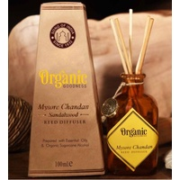 ORGANIC Goodness Reed Room Diffuser Sandalwood - Mysore Chandan in Amber Glass Jar
