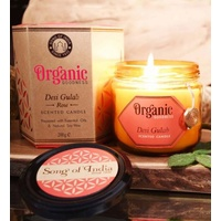 Organic Goodness Soy Candle ROSE Desi Gulab in Amber Glass Jar