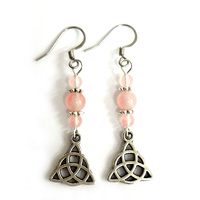 Charm Earrings ROSE QUARTZ TRIQUETRA