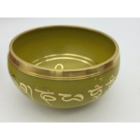 Tibetan Singing Bowl 10cm YELLOW with Small Striker