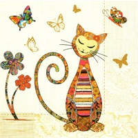 Triskele Arts Cards PAISLEY CAT AND BUTTERFLY