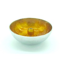 Aluminium Incense Dish YELLOW with Glitter