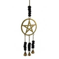 Brass PENTAGRAM hanging with Bells