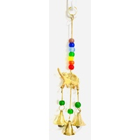 Brass Wind Chime ELEPHANT Trunk Up 7 CHAKRA with Glass Beads
