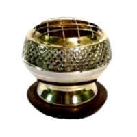 Charcoal Burner Brass on Stand CROSSHATCHED with Wooden Base