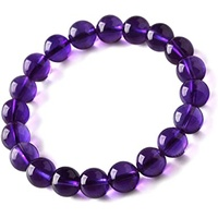 Crystal Bead Bracelet AMETHYST 12mm Large