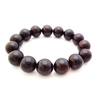 Crystal Bead Bracelet GARNET 14mm XL