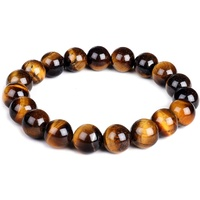 Crystal Bead Bracelet TIGERS EYE 10mm Medium