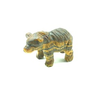Carved Crystal HAIRY BEAR Tiger Iron 65mm
