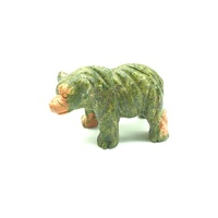 Carved Crystal HAIRY BEAR Unakite 50mm