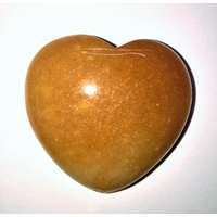 Carved Crystal PUFF HEART Aventurine Red 50mm