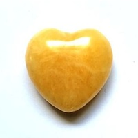 Carved Crystal PUFF HEART Aventurine Yellow 40mm