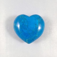 Carved Crystal PUFF HEART Blue Howlite 30mm