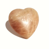 Carved Crystal PUFF HEART Brown Moonstone 30mm