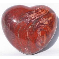 Carved Crystal PUFF HEART Breciated Jasper 40mm