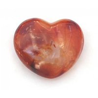 Carved Crystal PUFF HEART Carnelian 40mm