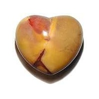 Carved Crystal PUFF HEART Mookaite 40mm