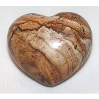 Carved Crystal PUFF HEART Picture Jasper 30mm