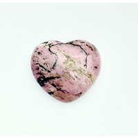 Carved Crystal PUFF HEART Rhodonite 45mm