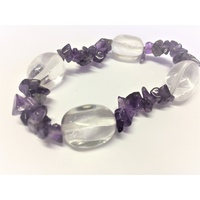 Crystal Chip Bracelet CLEAR QUARTZ Nugget & AMETHYST