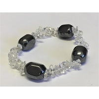 Crystal Chip Bracelet HEMATITE Nugget & CLEAR QUARTZ