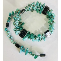 Crystal Chip Magnetic Wrap Bracelet BLUE HOWLITE 90cm