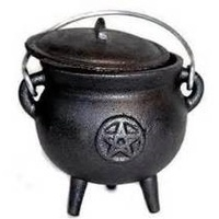 Cauldron w Lid Cast Iron PENTAGRAM Medium 10cm