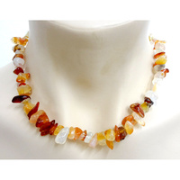 Crystal Chip Necklace CARNELIAN Chunky