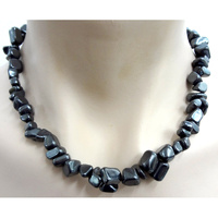 Crystal Chip Necklace HEMATITE Chunky