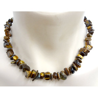 Crystal Chip Necklace TIGER EYE Chunky