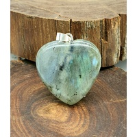 Carved Crystal Pendant Heart LABRADORITE