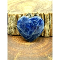 Carved Crystal Pendant Heart SODALITE plain