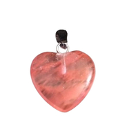 Carved Crystal Pendant Heart CHERRY QUARTZ 30mm